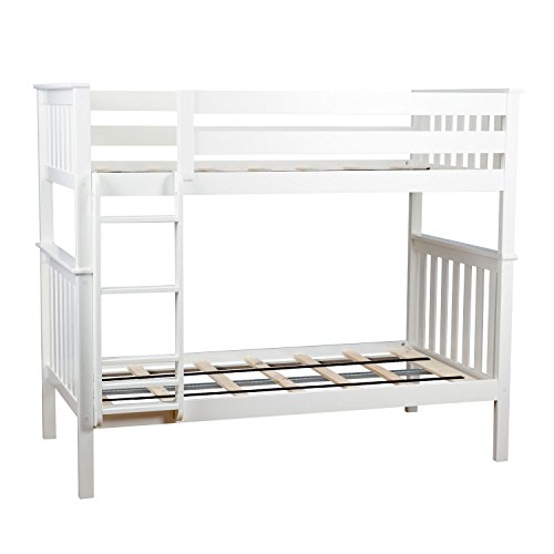Max & Lily Solid Wood Twin over Twin Bunk Bed, White (Over Twin Twin Bunk Bed White)