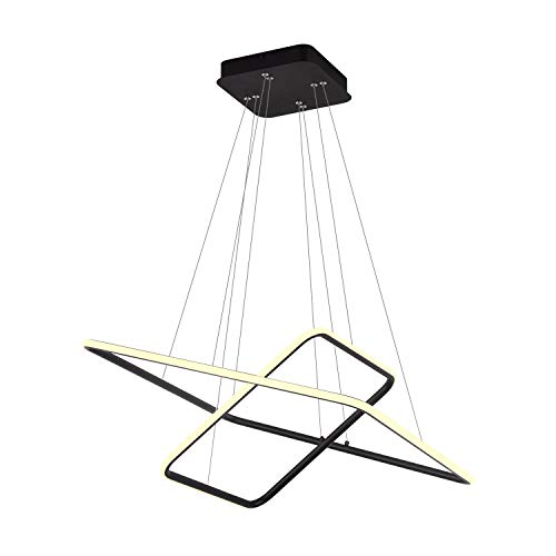 ROYAL PEARL Modern Square Led Chandelier Adjustable Hanging Light 2 Rings Contemporary Ceiling Pendant Lighting H47 X L24 x W24