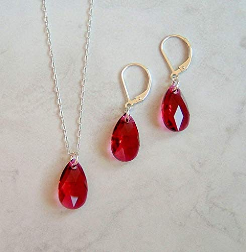 (Reddish Purple Simulated Ruby Teardrop Crystal Sterling Earring Necklace Set July Birthstone Gift Idea)