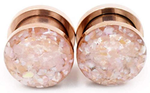 (Handmade Champagne Crushed Shell on Rose Gold Plugs 8g, 6g, 4g, 2g, 0g, 00g, 7/16, 1/2in, 9/16in, 5/8in, 11/16in, 3/4in, 7/8in, 1 inch)