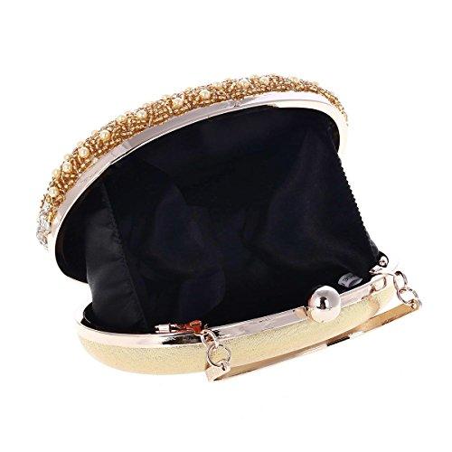 Damara Vintaje Mujeres Cartera De Embrague Con Asa Bolso De Mano Diamante,Plateado Dorado