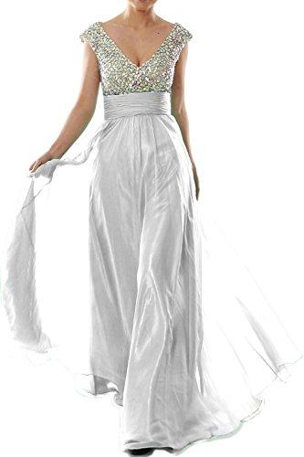 Women Sleeve Long Neck Weiß V Crystal Cap Chiffon MACloth Prom Dress Evening Gown fTxUU