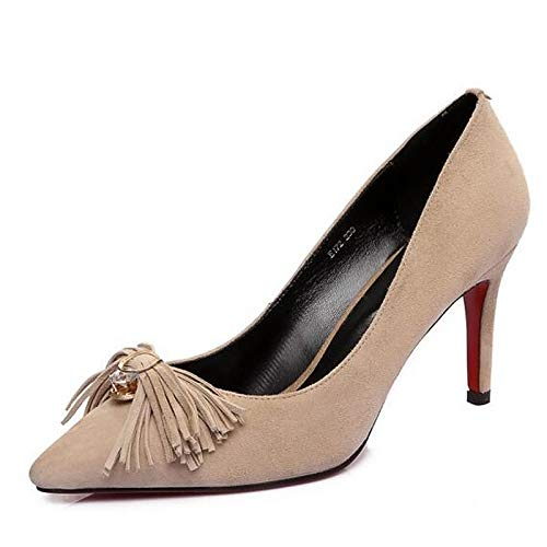 Stiletto Gray Spring Black Pump Heels Black Women's Suede ZHZNVX Heel Almond Basic ZznwFSSx