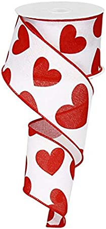 2.5 x 10 Yards Large Hearts Canvas Wired Edge Ribbon White, Red