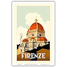 Florence (Firenze) Italy - Santa Maria del Fiore Cathedral, the Duomo of Florence - Vintage World Travel Poster c.1930 - Master Art Print - 12in x 18in