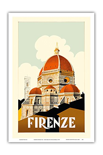 (Florence (Firenze) Italy - Santa Maria del Fiore Cathedral, The Duomo of Florence - Vintage World Travel Poster c.1930 - Master Art Print - 12in x)