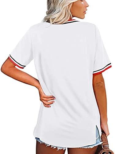 HOOYON Women's Basic V Neck T Shirts Short Sleeve Summer Casual Side Split Tops Striped Color Block Shirt