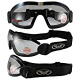 Search : Global Vision 3 Skydive Goggles Clear Smoke Yellow Anti-Fog Lenses Flare Motorcycle Goggles