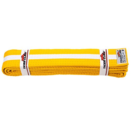Uniform Belt - Yellow With White Stripe - Cotton Tiger Belt
