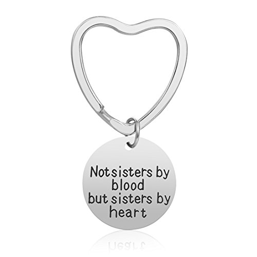 Keychain Gift Great (Best Friend Gifts Keychain - Friendship Gift for Women Girls, Birthday Gifts Graduation Gifts Christmas Gifts for Friends Female, Stainless Steel Jewelry (Sister by Heart))