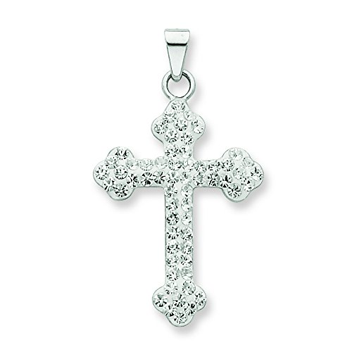 Silver Crystal Cross Necklace (Sterling Silver Swarovski Crystal Cross Necklace)