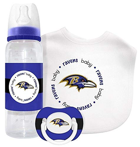 NFL Licensed Baby Fanatic Kick Off Collection 3-Piece Feeding Set (Baltimore Ravens)