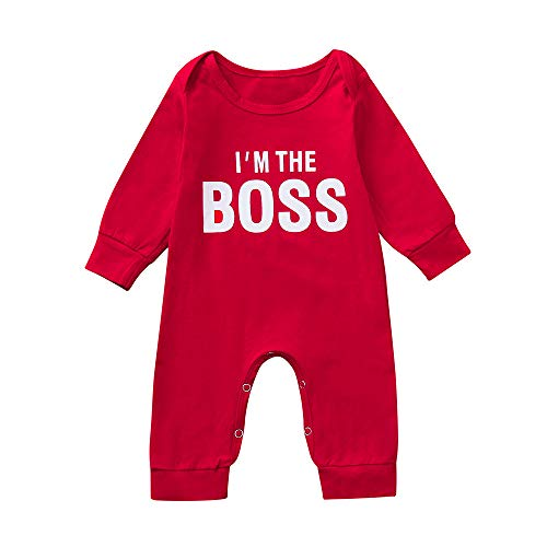 Price comparison product image Oldeagle Newborn Infant Baby Boy Long Sleeve I'm The Boss Letter Print Romper Jumpsuit Baby Outfits (6M,  Red)