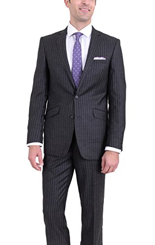 - Rivelino Slim Fit Charcoal Flannel Chalk Striped Two Button Wool Suit