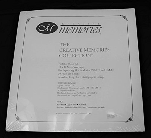 12 X 12 Creative Memories Refill Scrapbook or Album Pages - Vintage old style 1999 (White)