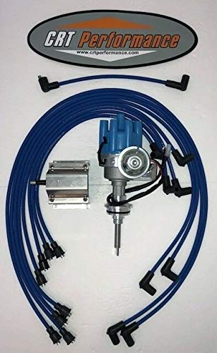 HEI Distributor + 60K Coil + Plug Wires, Compatible With MOPAR 440 73-78 BLUE Small Female Cap