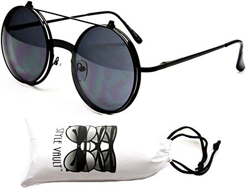 V135-vp Style Vault Round Flip up Django Steampunk Metal Sunglasses (ABSD Black-Dark Lens, - Sunglasses Circular Black