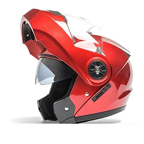 HYH ダブルミラーオープンフェイスヘルメットメンズ四季ユニバーサルヘルメット電動バイクヘルメットフルカバーブルートゥースレディースフルフェイスヘルメット - 赤 いい人生 (Size : M) Medium  B07S16NSHT