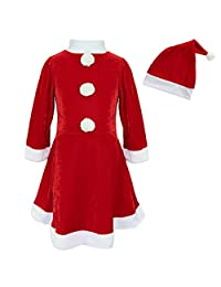 iEFiEL Girls Christmas Long Sleeve Snowball Carol Swing Dress with Santa Hat