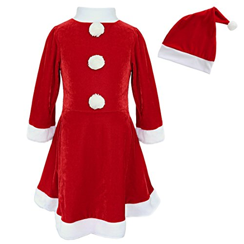 Price comparison product image iEFiEL Girls Christmas Long Sleeve Snowball Carol Swing Dress with Santa Hat Red 3-4