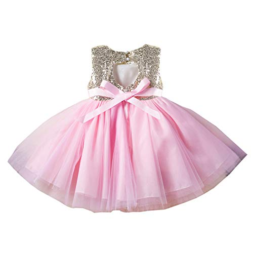 Toddler Girl Prom Dresses Backless Sequin Tulle Tutu Pageant Party Dresses for Toddler Little Girls Elegant Bridesmaid Wedding Clothes Embroidered Vintage Birthday Size 9-12 Months Pink 80