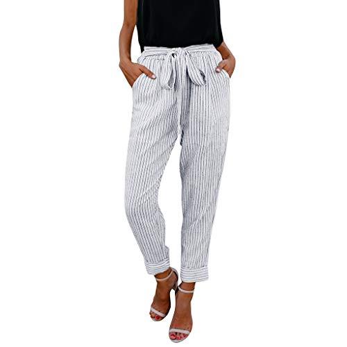 Memela pants* Women's Pants Trouser Slim Casual Cropped Paper Bag Waist Pants Stripe Pockets Trousers (White, M)