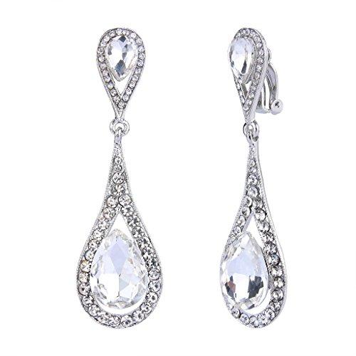 (EVER FAITH Women's Austrian Crystal Dual Tear Drop Clip-on Dangle Earrings Clear Silver-Tone)