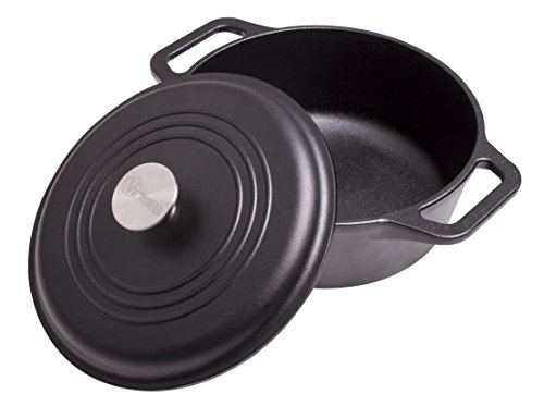 Victoria DUT-304 Pre-Seasoned Cast Iron Dutch Oven with Lid & Dual Handles, 100% NON-GMO Flaxseed Oil Seasoning, Medium/4 quart, Black For Sale