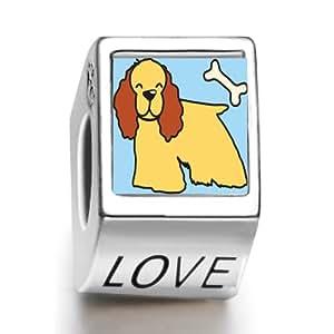 ¿gl¨¹cklich caniche perro y hueso foto Amor Europ? Pea Bead