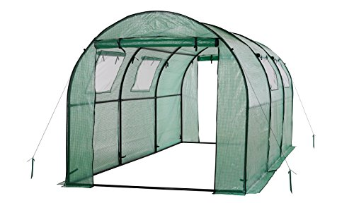 Ogrow 2 Door Walk-In Tunnel Greenhouse With Ventilation Windows & Steel Frame, 15′ x 6′ x 6′, Green