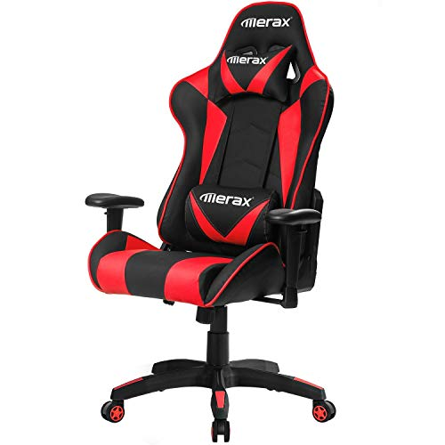 Merax High Back Computer Chair Ergonomic Design Racing Gaming Chair Reclining Chair Home Office Chair (Red) Merax