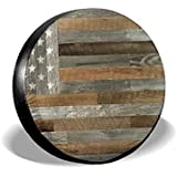 Tire Cover Artiswall American Flag Reclaimed Wood Potable Polyester Universal Spare Wheel Tire Cover Wheel Covers For Jeep Trailer RV SUV Truck Camper Travel Trailer Accessories(14,15,16,17 Inch)