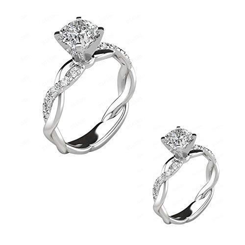 Luxus Damenring Strass Eingelegten Geschenkring (Silber,6)