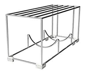 Mindfull Products Space Saving Wine Bottle Rack, Built-in Shelf, Stackable, Chrome Finish