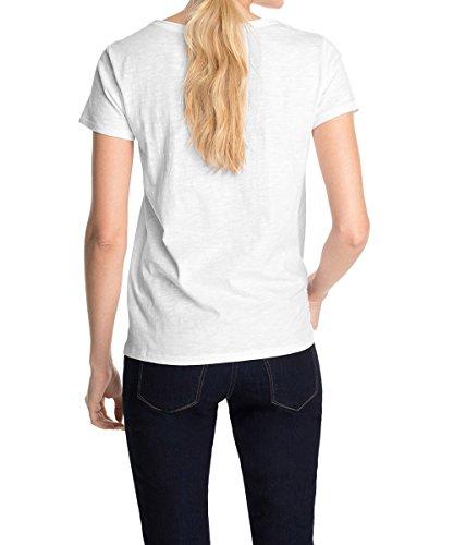 ESPRIT 995EE1K905 - Camiseta, con manga corta, con cuello redondo para mujer Blanco (White 100)