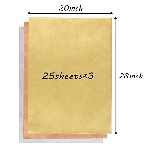 3 otters Tissue Paper, 75 Sheets 20x28 inches Bleeding Gift Wrap Bulk Premium Quality Tissue Gift Wrapping Paper