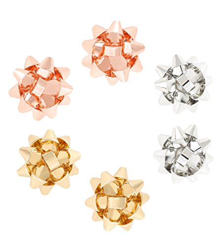 Earrings New Fashion Latest Style (VOGUEKNOCK 3 Pairs Gift Bow Earring Studs Green Red Flower Dangle Earrings Silver, Gold, Rose Gold)