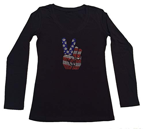 Women's T-Shirt with 4th of July Hand Peace Sign in Rhinestones (Black Long Sleeve, 1X)