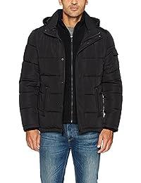 Calvin Klein Mens Alternative Down Puffer Jacket with Bib & Hood Windbreaker Jacket