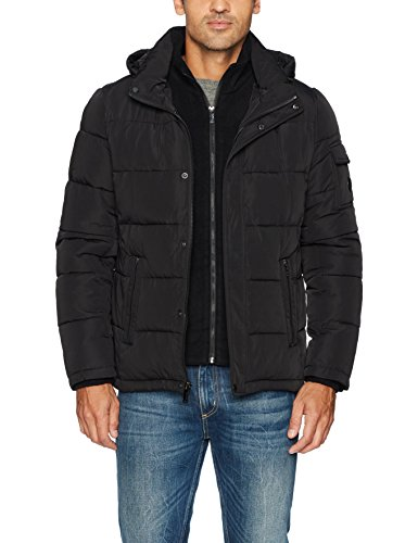 Calvin Klein Men's Alternative Down Puffer Jacket With Bib & Hood, black, Small