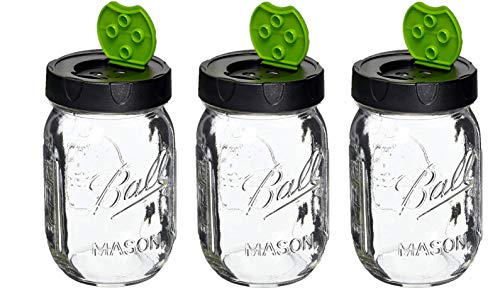 SET OF THREE Genuine Ball 16 oz Mason Jar with Closable Shak