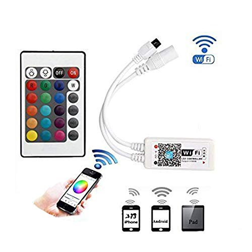 BRIGHTINWD LED WiFi Controller Wireless RGB Controller LED with Timer Function, Music Control Function, Sound Activation Function, Group Control Function and Custom function Create a High Atmosphere o