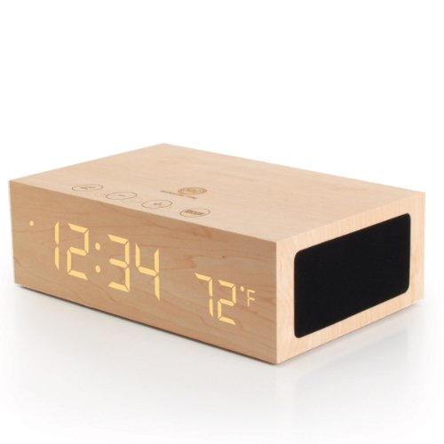 Accessory Power Gogroove Tym Bluetooth Wireless Stereo Speaker Wooden Alarm Clock With Led Time And Temperature Display For Smartphones  Tablets And More Devices