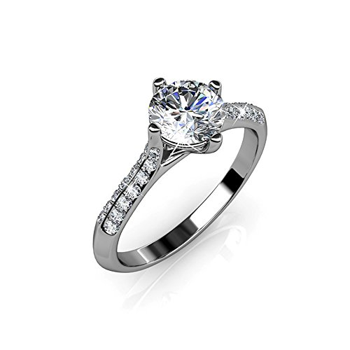 Date Solitaire Ring (Cate & Chloe Leona Fate 18k Gold Plated Ring, Fancy Beautiful Solitaire Round Cut Diamond Ring w/Swarovski Crystals, Promise Engagement Ring, Wedding Anniversary Jewelry (6) - MSRP $132)