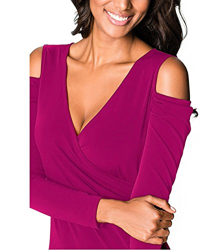 BIUBIU Club Party V Long Bodycon XL Neck Women's Sleeve Dress Cold Purple S Shoulder rxwqrFB