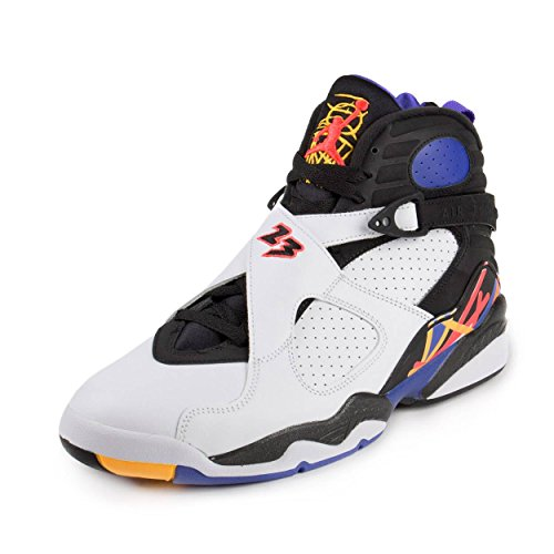 Nike Jordan Mens Air Jordan 8 Retro White/Infrrd 23/Blk/Brght Cncr Basketball Shoe 10 Men US