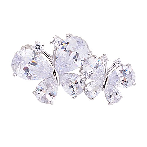 OBONNIE Silver Tone Micro Pave Cubic Zirconia Clover Camellia Love Knot Bow Star Daisy Flower Brooch Pin (Double Butterfly) Butterfly Silver Tone Brooch