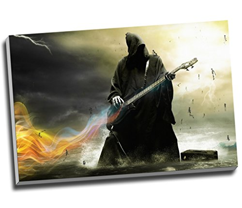 Panther Print Death Heavy Metal Angel Guitar Music Fantasy Canvas Print Wall Art Picture Canvas Prints Large A1 30 X 20 Inches 76.2Cm X 50.8Cm