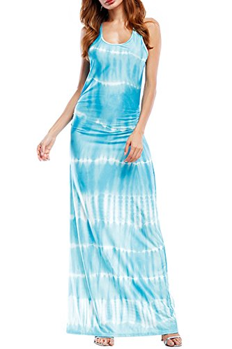 WIWIQS Women`s Tie Dye Ombre Dress Juniors Sleeveless Ombre Long Dress Light Stripes Blue (Ombre Silk Dress)
