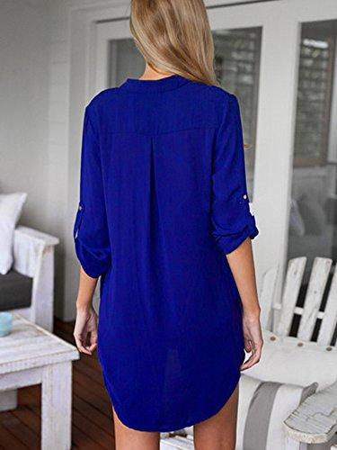 Manches Bleu Robe LaoZan Chemise Top Femme Mousseline Longues V Tunique Col Blouse ZqwAPwE